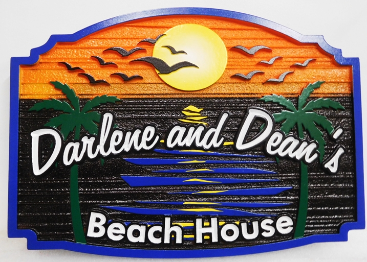 "L21221- Carved Residence Name Sign , ""Darlene and Dean's Beach House"", features the Ocean, a Setting Sun, and Seagulls as Art."