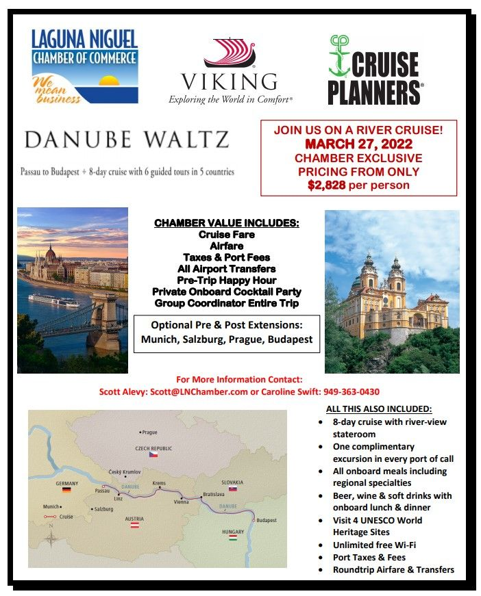 Danube Waltz River Cruise  -  March 27, 2022 - Click flyer for Info & Itinerary