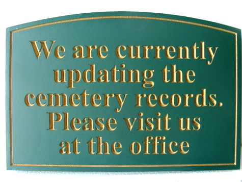 "GC16385 - Engraved High-Density-Urethane (HDU)  ""Cemetery Records ""  Sign for a Cemetery"