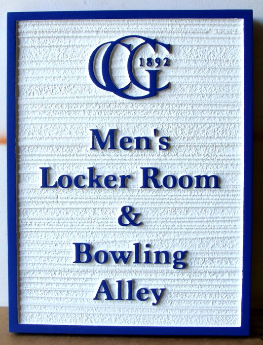 E14222 - Carved and Sandblasted HDU Sign for Country Club Men's Locker Room & Bowling Alley