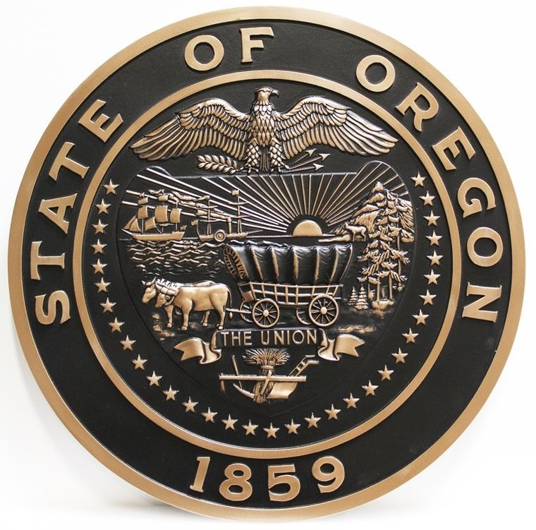 W32420A - Carved 3-D Bas-Relief Plaque of the Great Seal of the State of Oregon