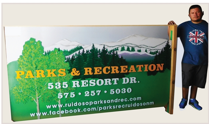 G16206 - Carved  HDU Sign for Parks and Recreation Showing Mountains and Trees