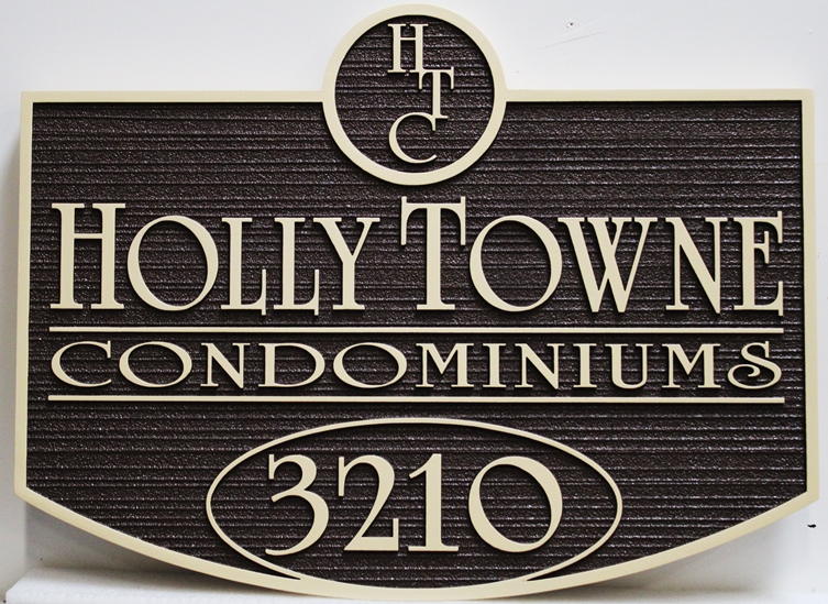 """K20402 - Carved High-Density-Urethane (HDU) Entrance and Address Sign for the """"Holly Towne"""" Condominiums"""