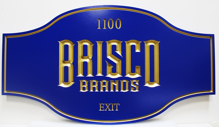 "S28130 - Engraved  V-Carved HDU Sign for ""Brisco Brands""."