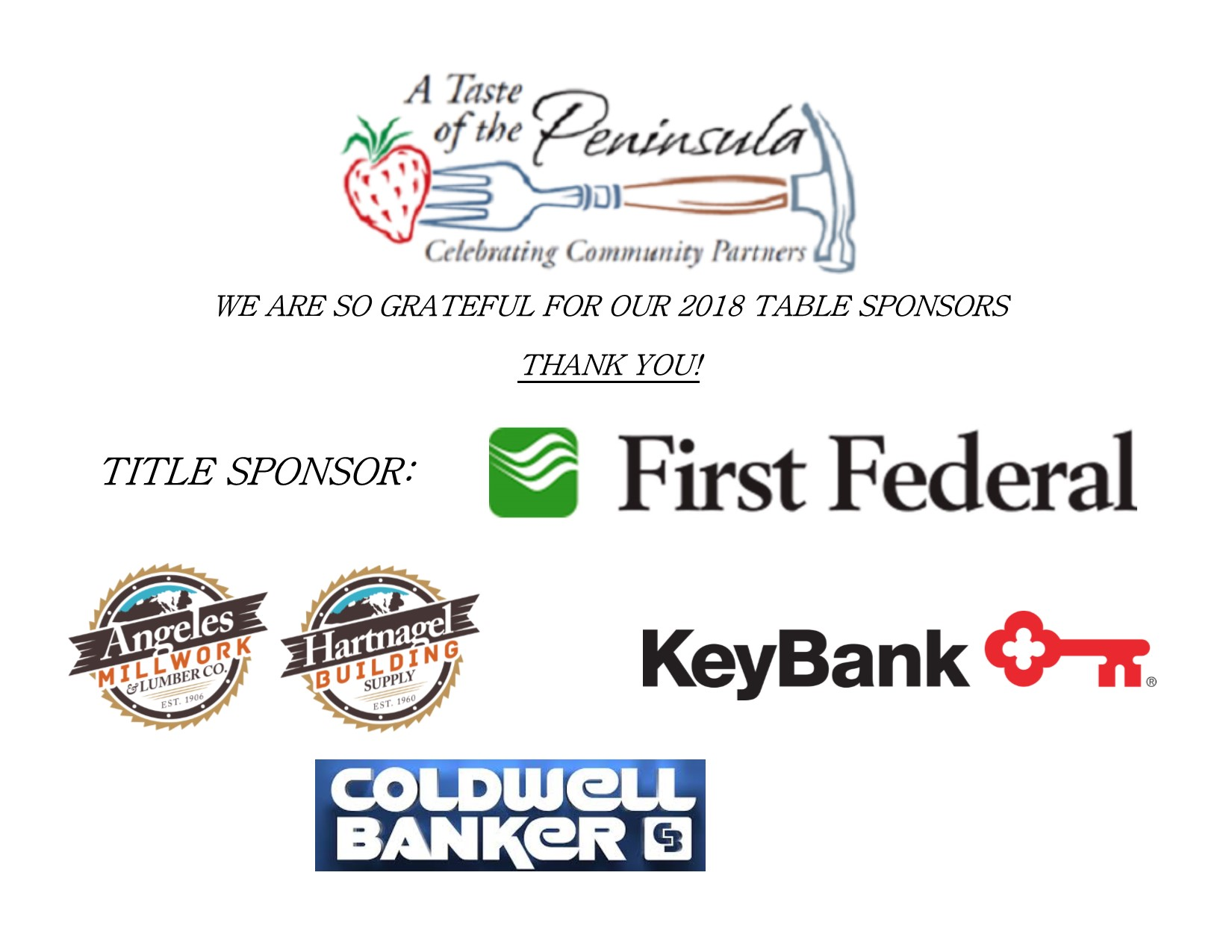 2018 A Taste of the Peninsula Table Sponsors