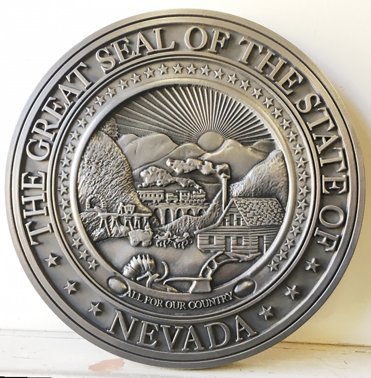 BP-1330 - Carved Plaque of the Great Seal of the State of Nevada,  3-D Bas-Relief, Plated with German Silver Metal