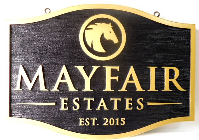 P25063 - Carved HDU Sign For Horse Country Estates with 24K Gold-Leaf Text and Artists Rendering of Horsehead