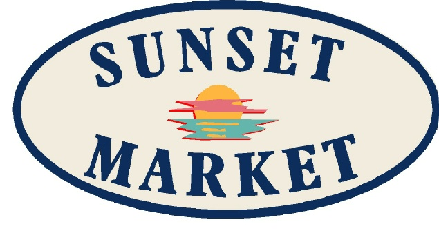 Q25628 - Design for Carved Wood or HDU Sign for Sunset Market with Image of Setting Sun