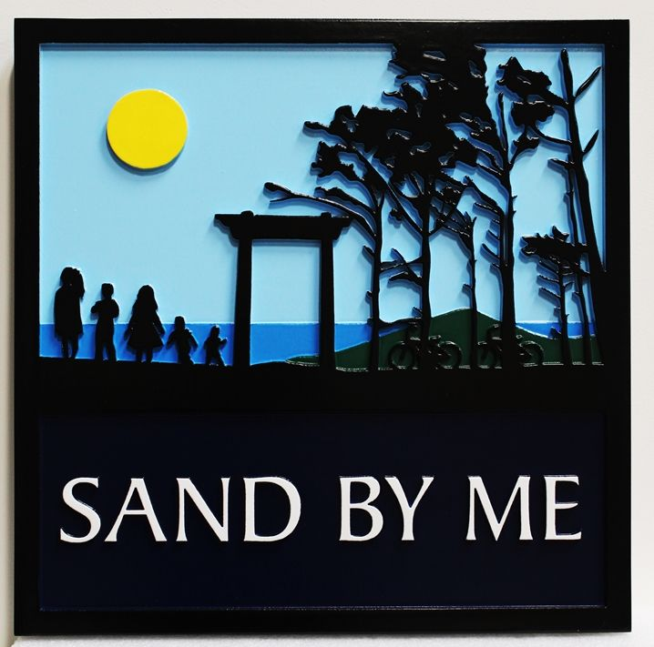 "L21241 - Carved Coastal Residence Name Sign , ""Sand By Me"", with Moon, Ocean, Trees and Torii Gate"