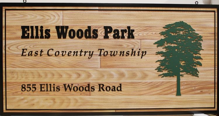 GA16418 - Carved High-Density-Urethane (HDU)  Sign for  Ellis Woods Park, East Coventry Township 2.5-D Artist-Painted, with Faux Wood Grain Background