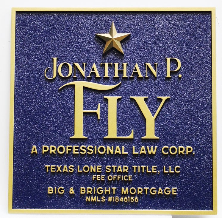 """A10511 - Carved and Sandblasted Sign for """"Jonathan P. Fly, A Professional Law Corporation"""""""