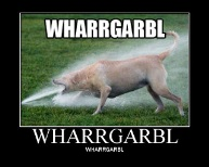 "A dog sticking his face in front of a hose with the caption ""Wharrgarbl"""
