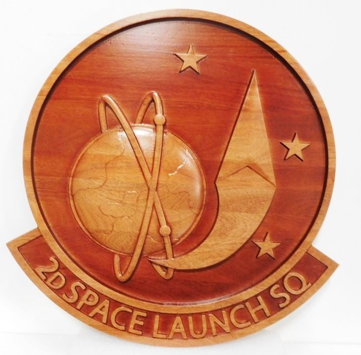 LP-1220 - Carved  Plaque of the  Crest of the 2nd Space Launch Squadron , 3-D Mahogany with Globe and Launched Rocket