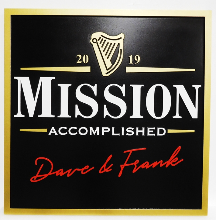 "RB27662 - Carved  ""Mission Accomplished"" Pub Sign  with Irish Harp as Artwork,  2.5-D Engraved Artist-Painted"
