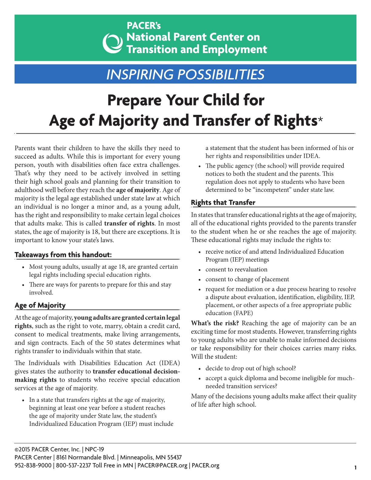 Prepare Your Child for Age of Majority and Transfer of Rights