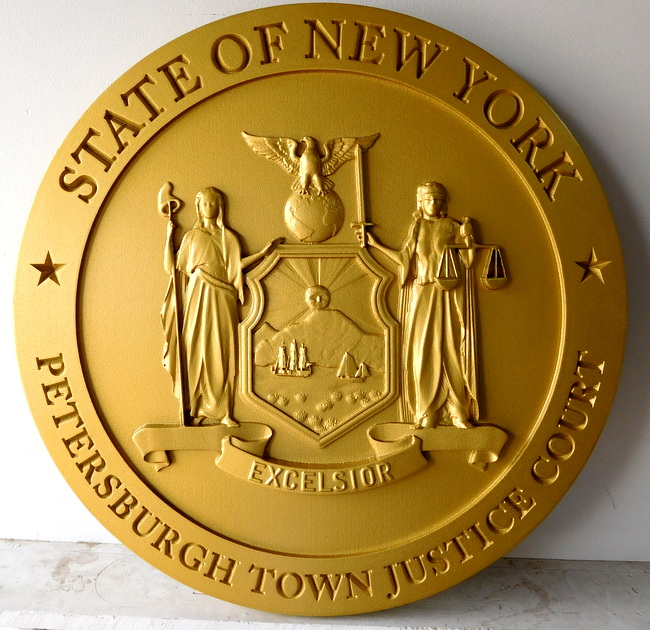 W32371C-  3-D Carved Wall Plaque for the Petersburg Town Justice Court, featuring the Seal of the State of New York, painted Metallic Gold