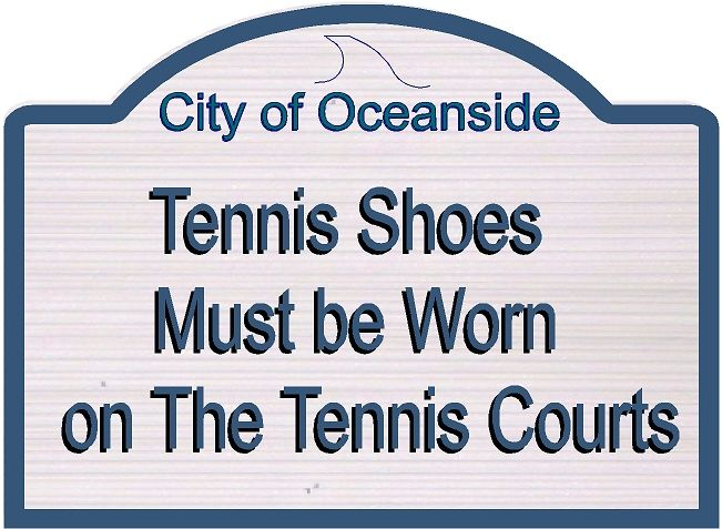 GB16869-  Carved HDU Tennis CourtTennis Shoes Required Sign for City of Oceanside