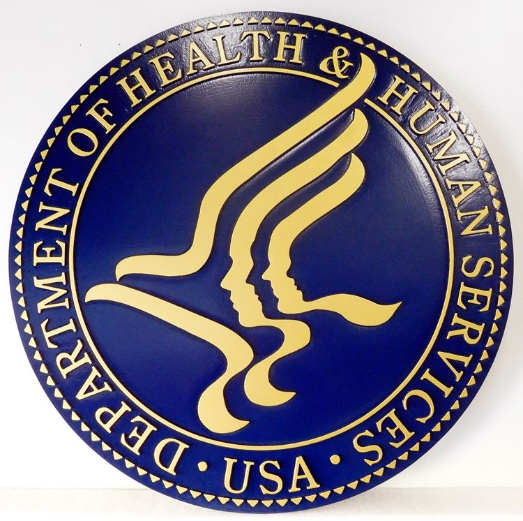 AP-6060 - Carved Plaque of the Seal of the US Department of Health & Human Services, 2.5-D Flat Relief, Artist Painted