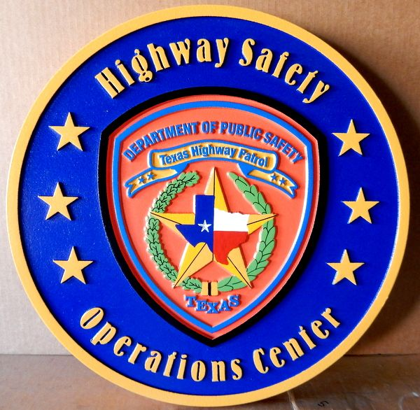 PP-2320 - Carved  Wall Plaque of the Shoulder Patch of the Texas Highway Patrol Operations Center,  Texas, Artist Painted
