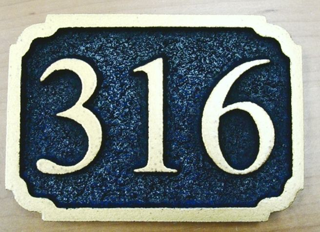 T29206- Carved  Sandblasted  High-Density-Urethane (HDU) Room Number Plaque with Raised  Numbers