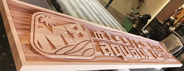 GB16130A - Carved and Sandblasted  Redwood  Sign was  for Mission Bay Aquatic Center