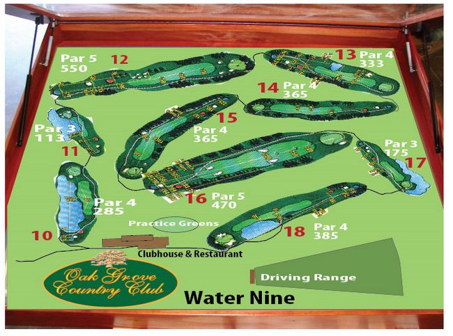 E14228 - 3D Golf Course Map Mounted in Redwood Box Outside