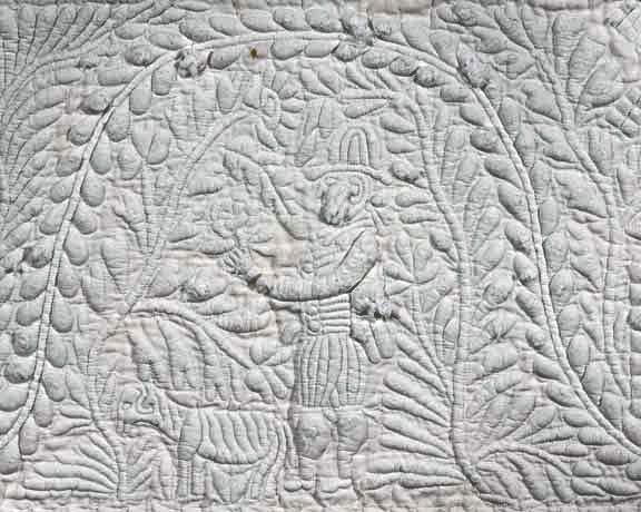 Bedcover, IQSCM 2005.018.0011, Detail, Man and Rose