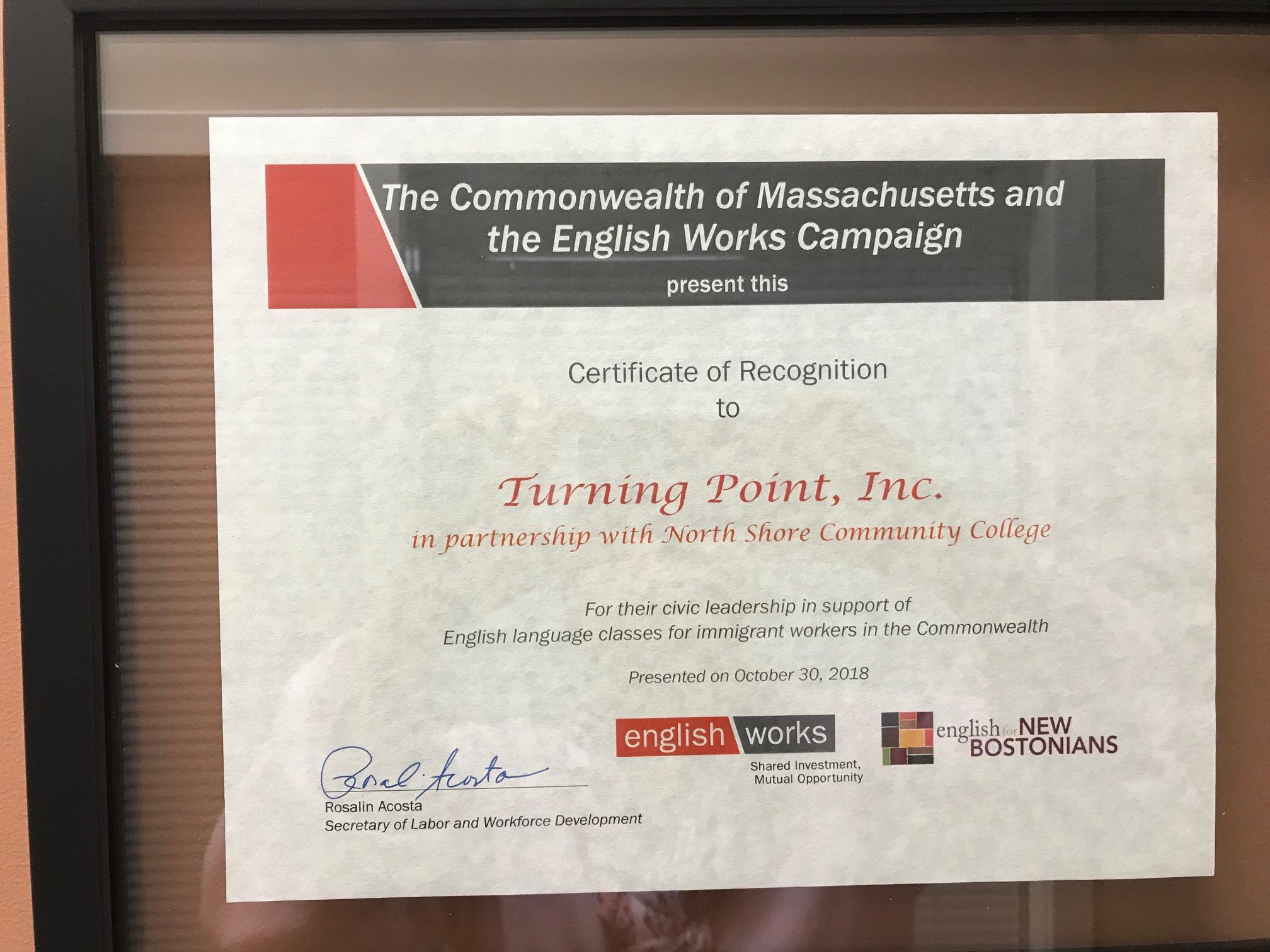 ESOL Training Leadership Award - 2018