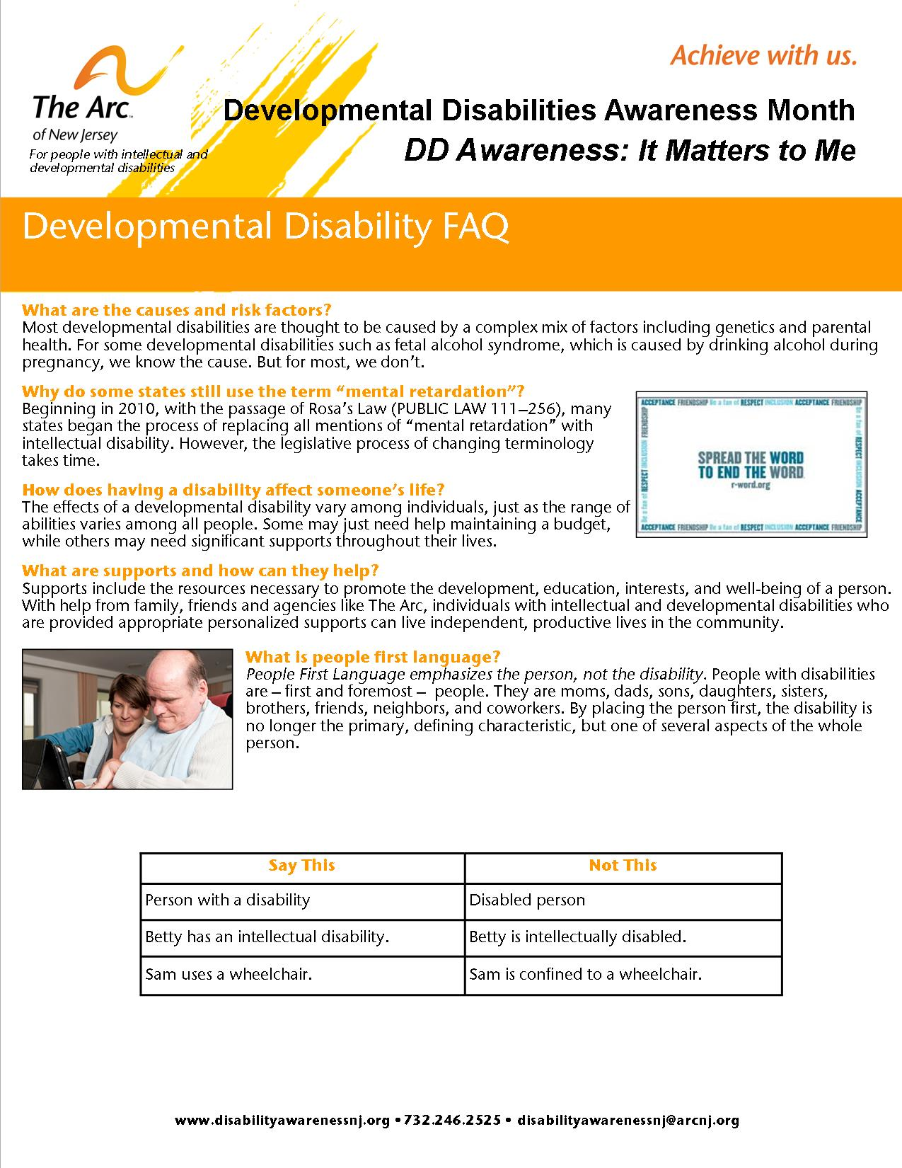 Developmental Disabilities Frequently Asked Questions