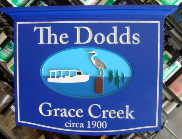 "M22510 - Name Sign for Waterfront ""Grace Creek"" Home with Boat and Crane"