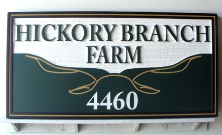 O24858 - Carved  Wooden Ranch Sign, Hickory Branch Farm