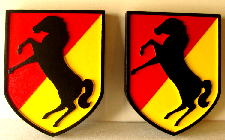 V31766 - Carved Wood Wall Plaque of Crest of 11th Armored Cavalry Regiment, USA