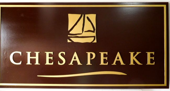 "M3054 - Carved Mahogany Wood Plaque ""Chesapeake"" with Carved Sailboat, 24K Gold-Leaf Gilt Text and Borders (Gallery 30)"