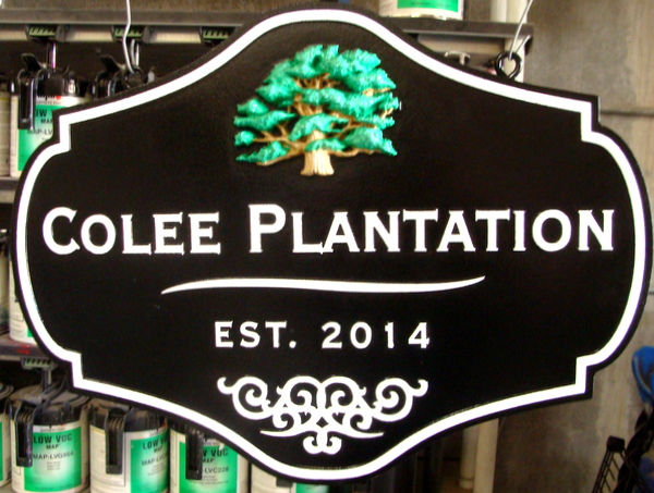"I18312 -  Entrance Sign for ""Colee Plantation"" with 3-D Carved Tree"