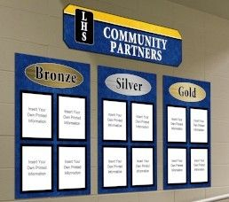 Community partner signs, custom signs with three levels, paper holders, blue & yellow