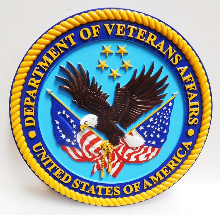 AP-6030 - Carved Plaque of the Seal of the US Department of Veterans Affairs, 3-D Artist Painted
