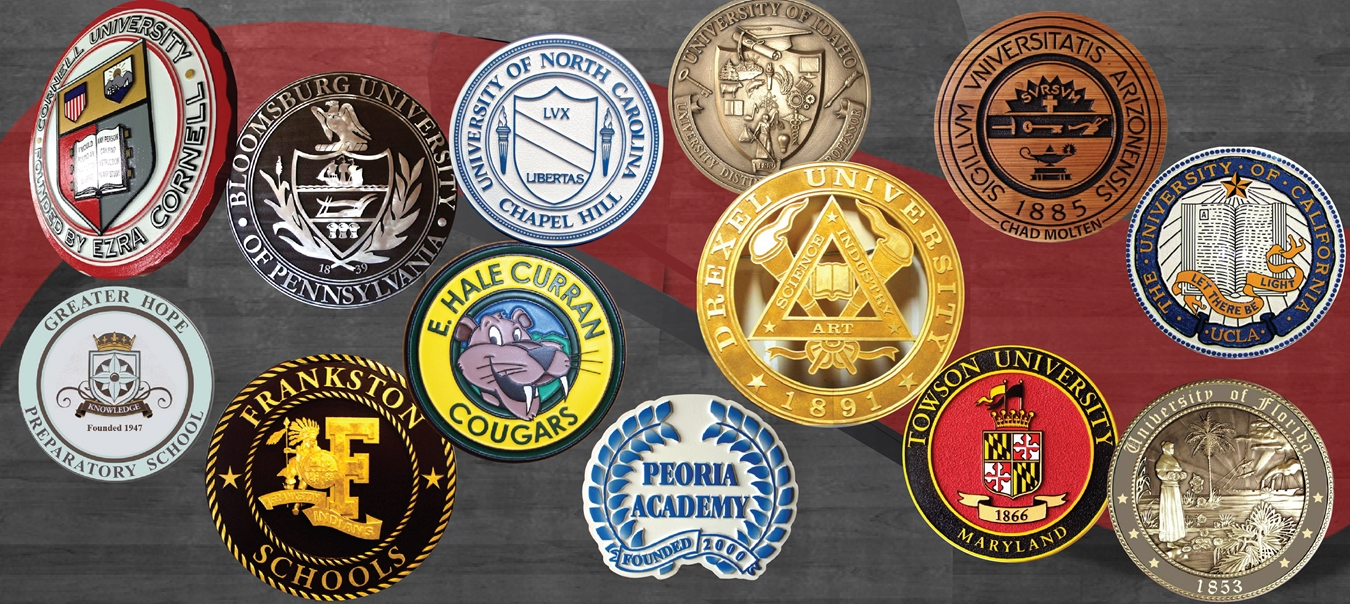 University, college, fraternity, sorority seal wall plaques