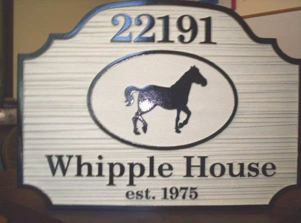 P25310 - Sandblasted Wood Horse Farm Sign with Silhouette of Horse
