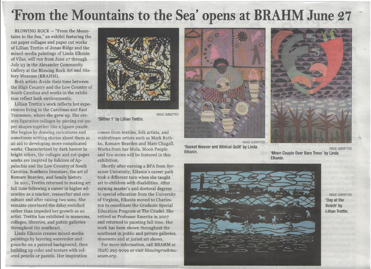"""""""From the Mountains to the Sea"""" opening at BRAHM"""
