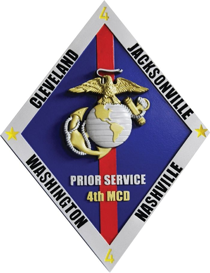 KP2163 - Carved Plaque of the Crest for Prior Service,  US Marine Corps Version 2, 3-D Artist-Painted