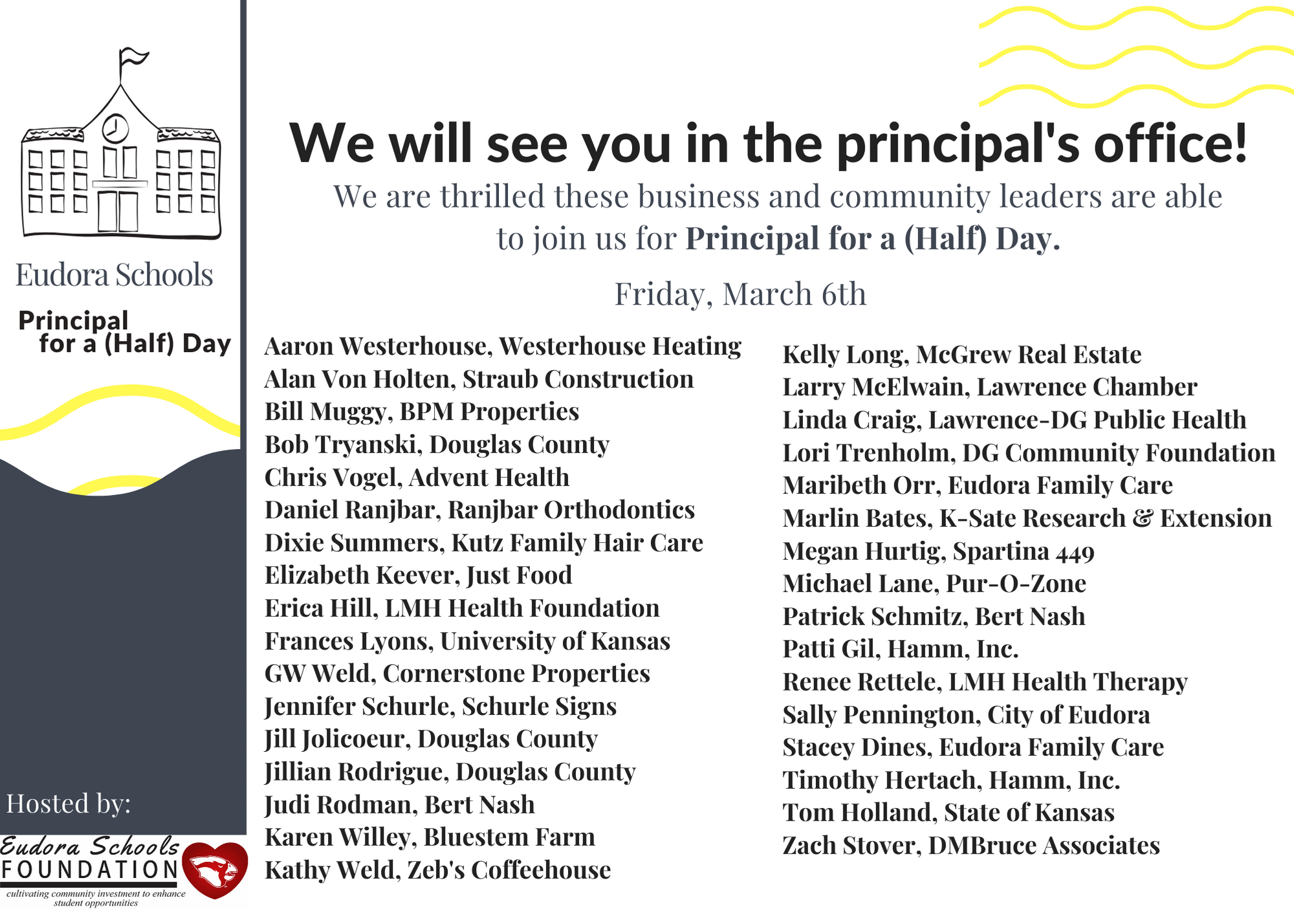 Announcing our 2020 Guest Principals - Local Community and Business Leaders Become School Principals for a (Half) Day.