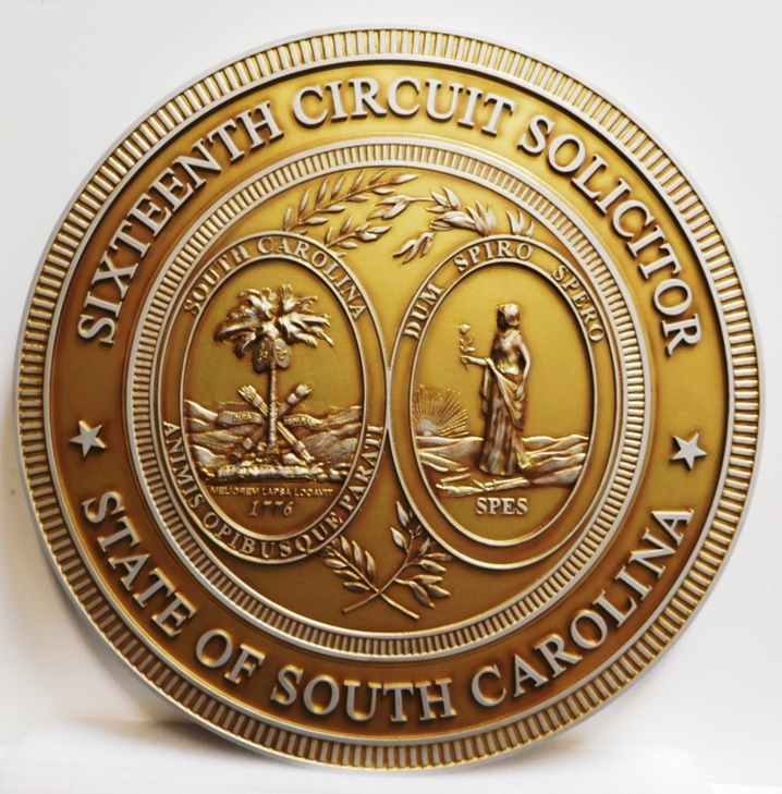 BP-1483 - Carved Wall Plaque of the Great Seal of the State of South Carolina, 3-D Bas-Relief, Arist Painted in Metallic Gold and Silver Paints