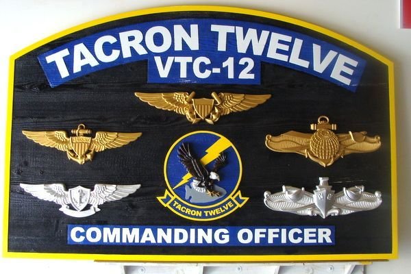 SA1210 - Commanding Officer's  Plaque for TACRON 12 (VTC-12) , US Navy,   Carved from Western Red Cedar.