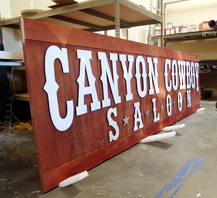 """Y27103-  Cedar Wood Rustic Western Canyon Cowboy Saloon"""" Sign, with Cut-Out Letters (Side View)"""