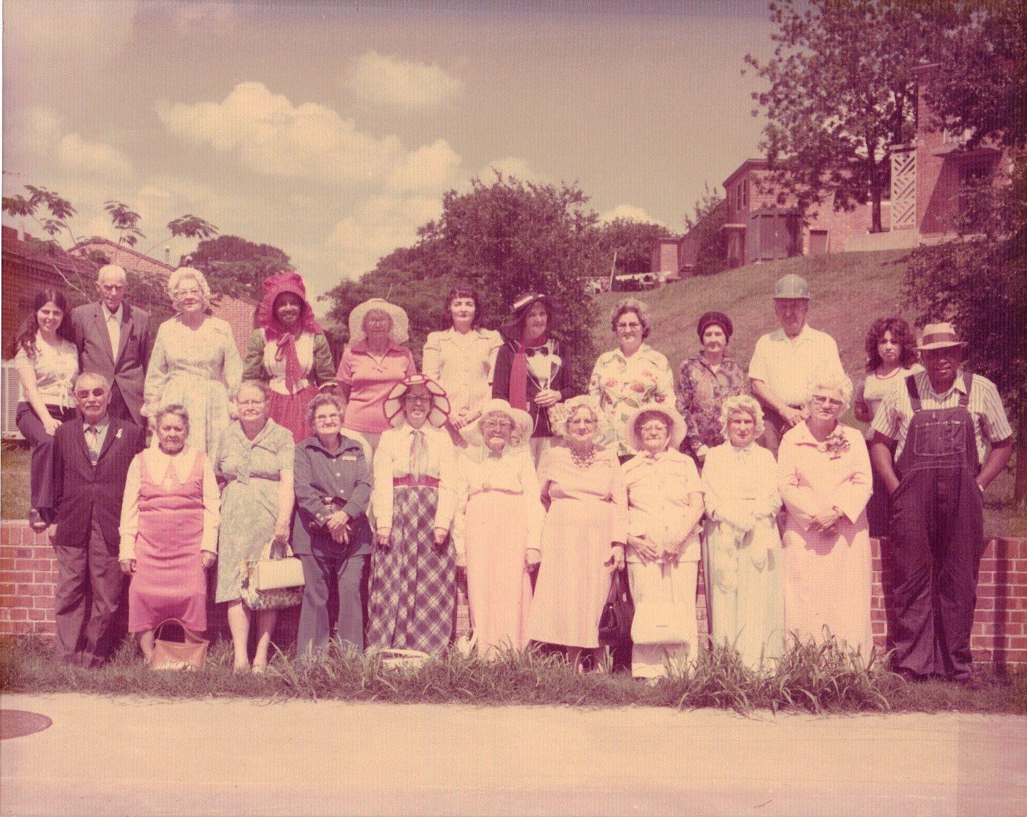 1960s photo of seniors dressed up as pioneers