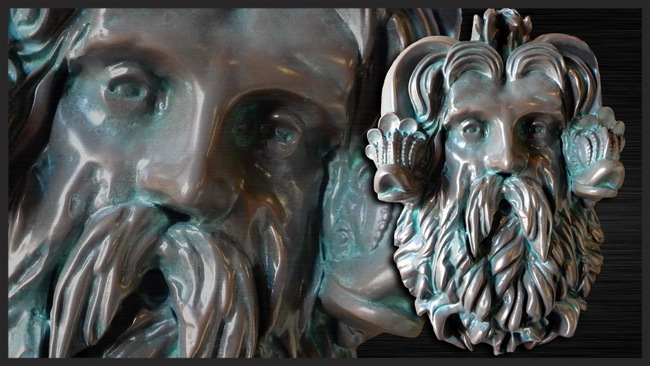 N23378 - Bronze-Plated 3-D Half-relief  High Density Urethane Head of Neptune.