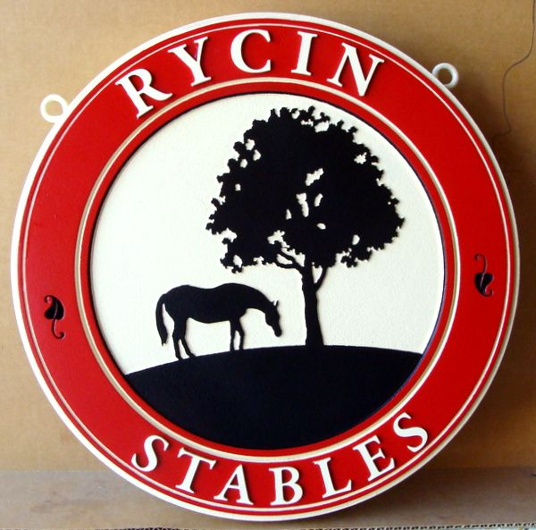 """P25088 -  Carved Round HDU Entrance Sign for """"Rycin Stables"""", with Horse and Tree in Silhouette"""