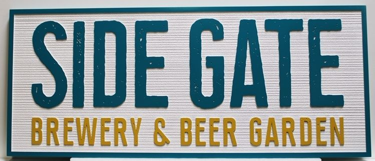RB27670 - Carved 2.5D and Sandblasted Wood Grain HDU Sign for the Side Gate Brewery and Beer Garden