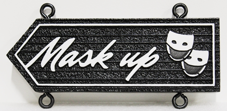 """F15590 - Carved and Sandblasted HDU  """"Mask Up"""" Sign for a City Public Building"""
