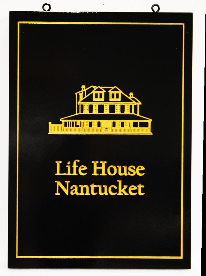 """L22927 -  EngravedCoastal Residence Sign """"Life House - Nantucket"""", with 24K Gold-Leaf Gilded Text, Border and House  Artwork"""